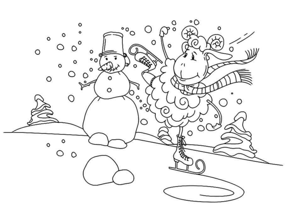 Новый год овцы раскраски