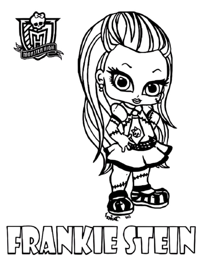 Monster high coloring pages frankie stein for Coloring pages for girls monster high