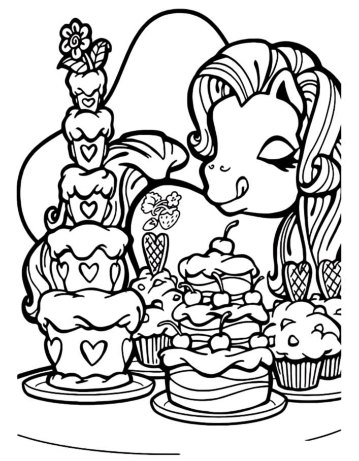 Пони и торт раскраска