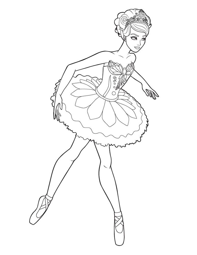 Распечатать раскраска барби балерина