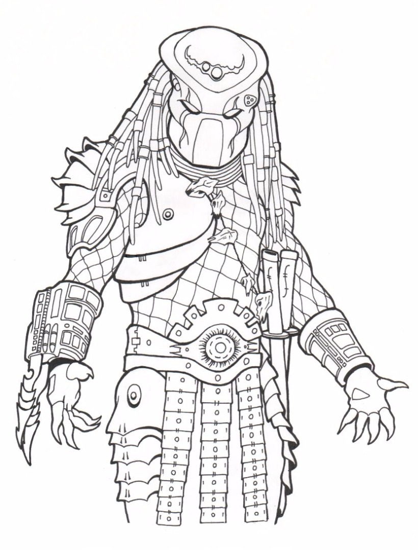 Line Art Vs Painting : Predator coloring pages