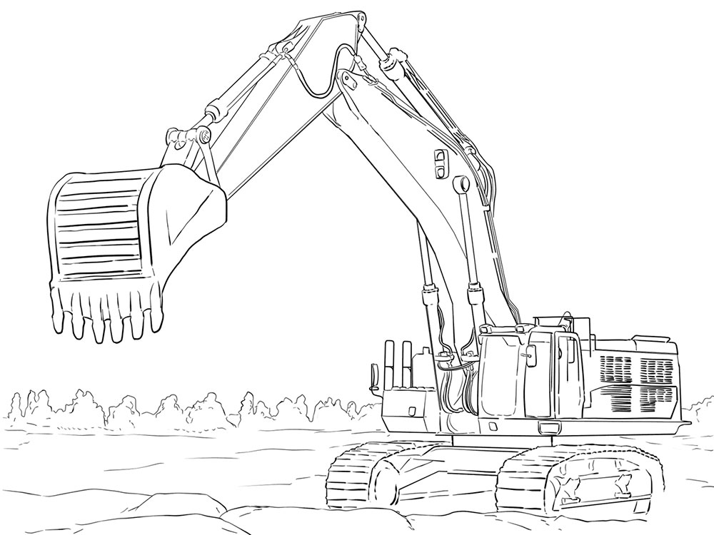 excavator coloring pages - John Deere Combine Coloring Pages