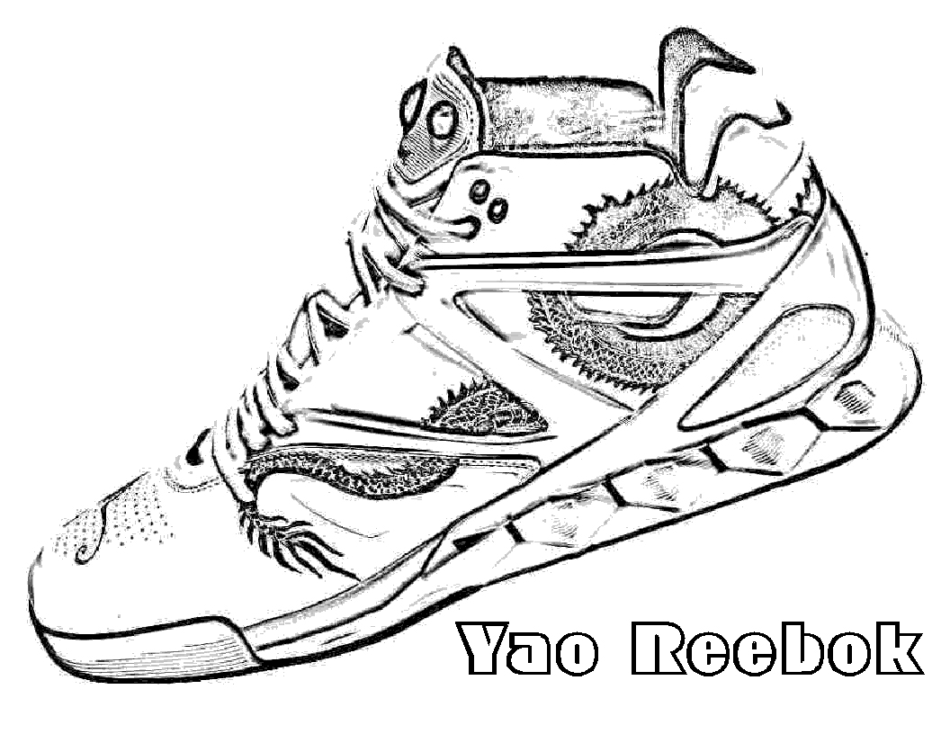 Coloring pages basketball shoes - Shoe Coloring Pages