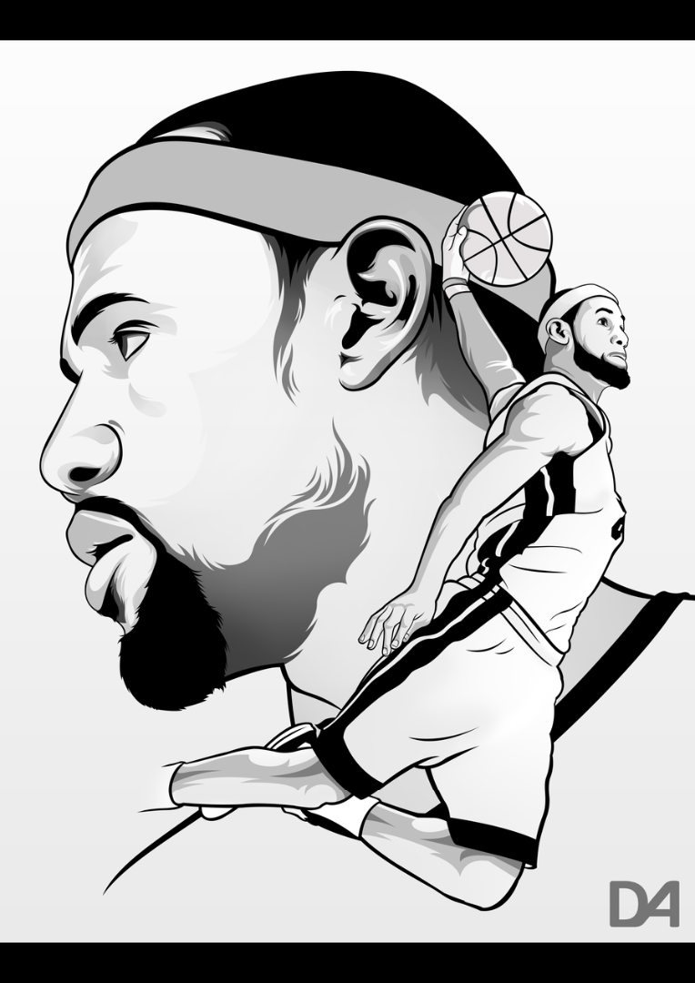 Lebron James Black And White Sketch