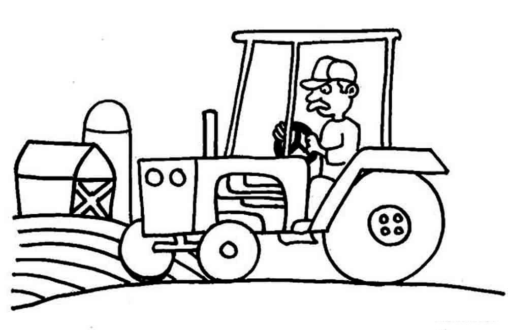 распечатать трактор раскраска