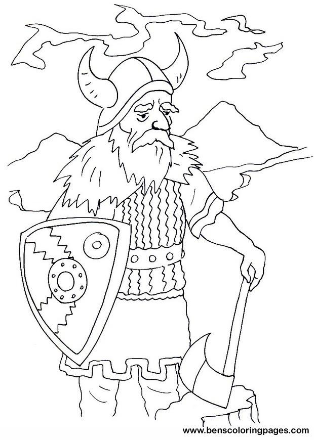 drakkar a viking ship profile of a viking warrior coloring page