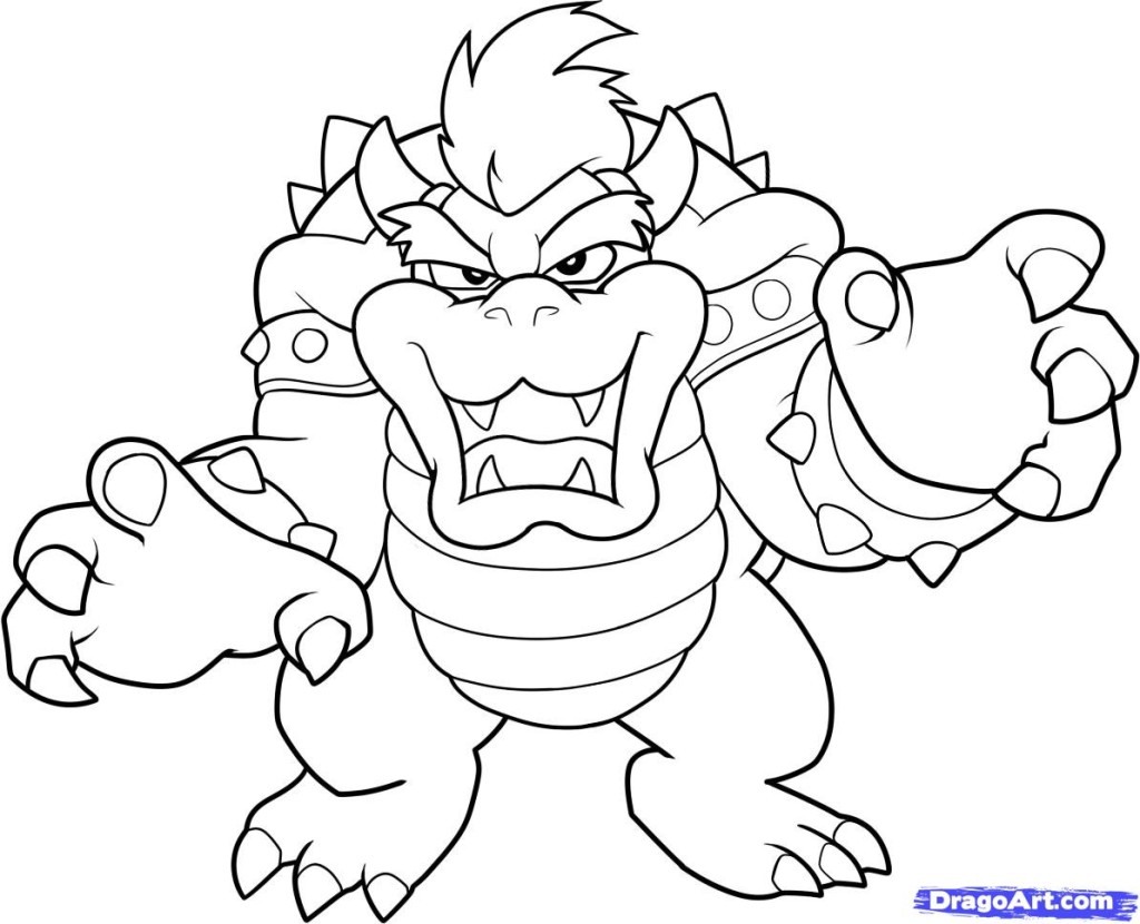 latest paper mario coloring pages mario coloring pages mario bowser with mario kart wii coloring pages - Super Mario Luigi Coloring Pages