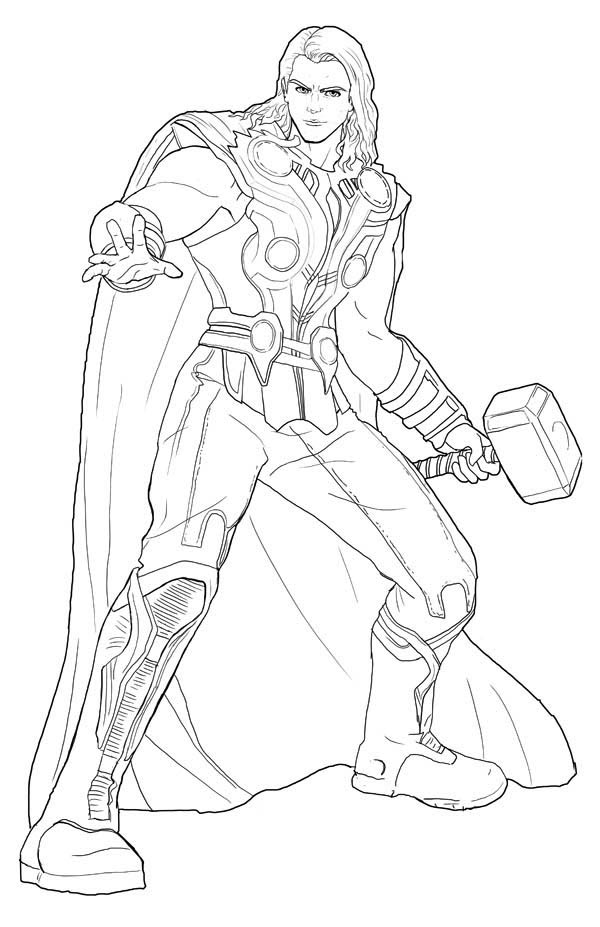Mighty Avengers Coloring Pages : Image gallery thor outline