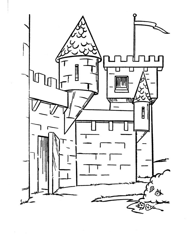 Castles and knights coloring pages for Free printable castle coloring pages