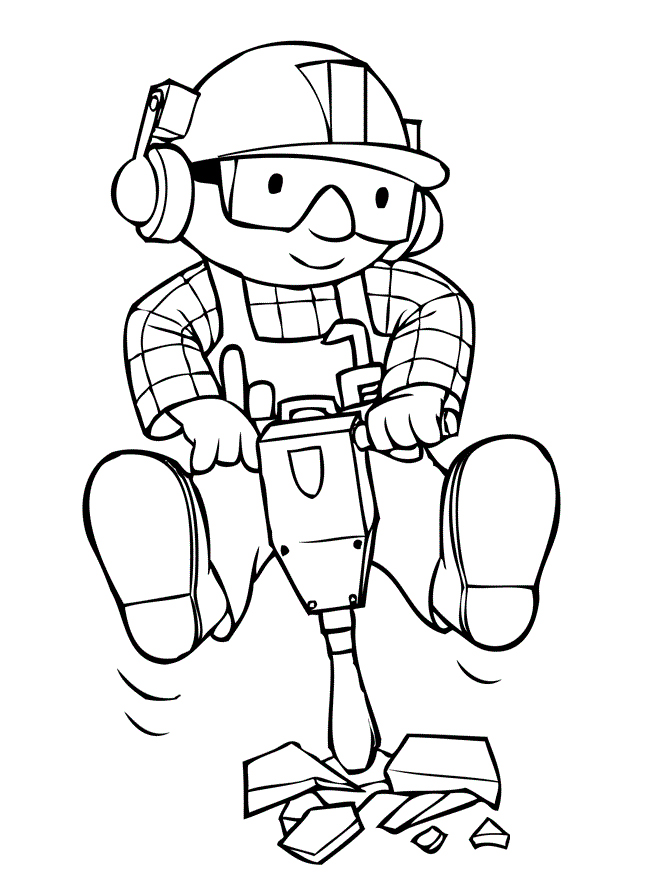 Free Bob the builder coloring pages to print for kids. Download, print ...