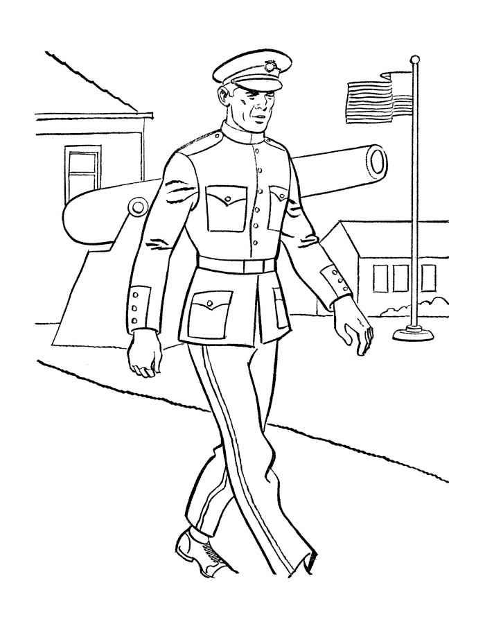 Раскраска маленький солдат