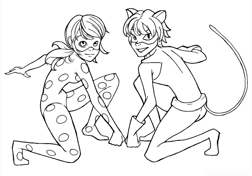 Ladybug And Cat Noir Coloring Pages
