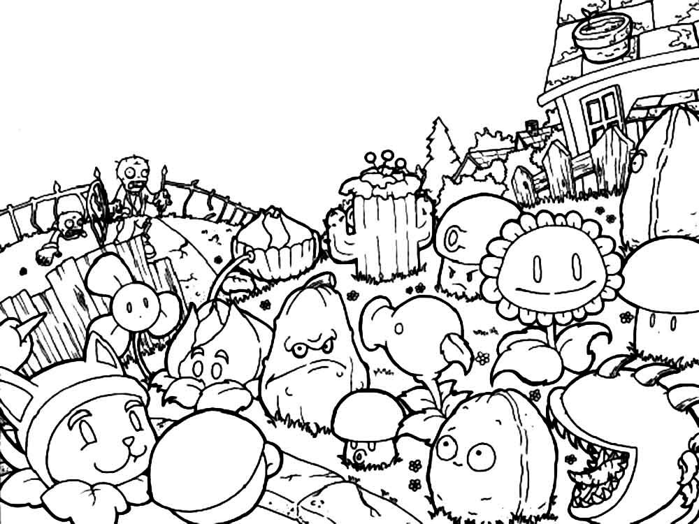 Plants vs zombies coloring pages for Free printable zombie coloring pages