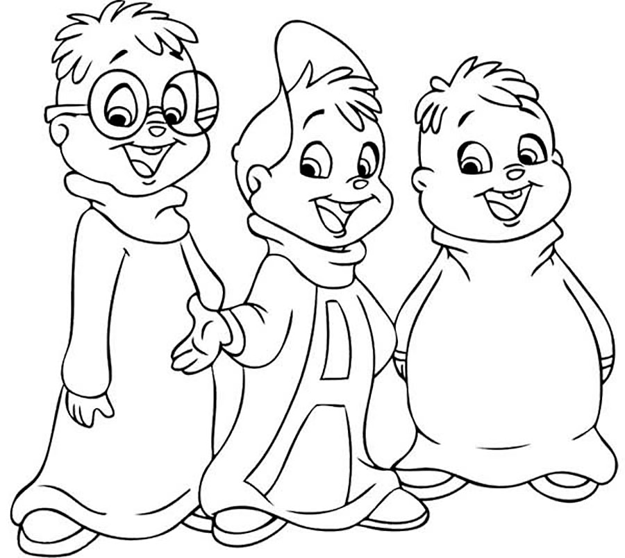 Alvin and the chipmunks coloring pages for Chipmunks coloring pages free