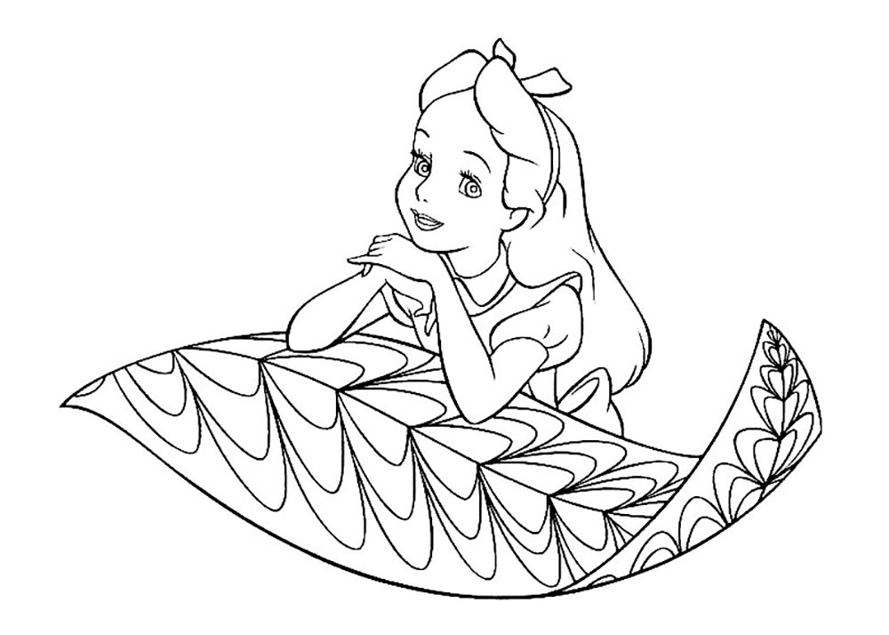 alice in wonderland coloring pages - Alice Wonderland Coloring Pages