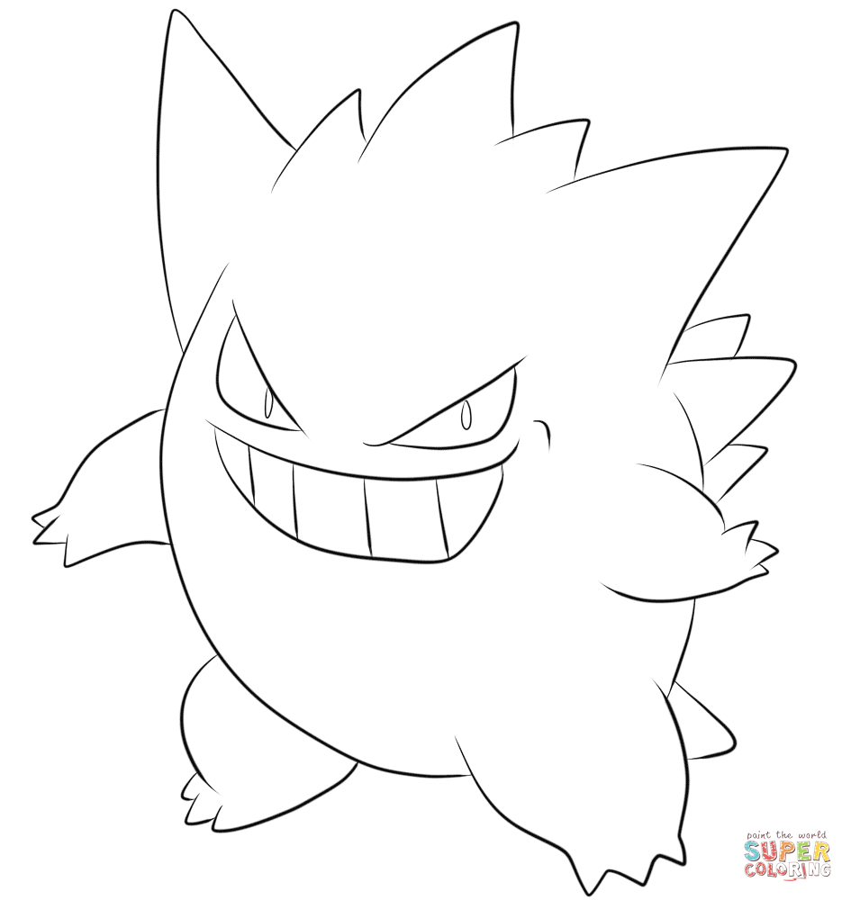 gastly haunter and gengar pokemon coloring pages | Pokemon Haunter Coloring Page Sketch Coloring Page