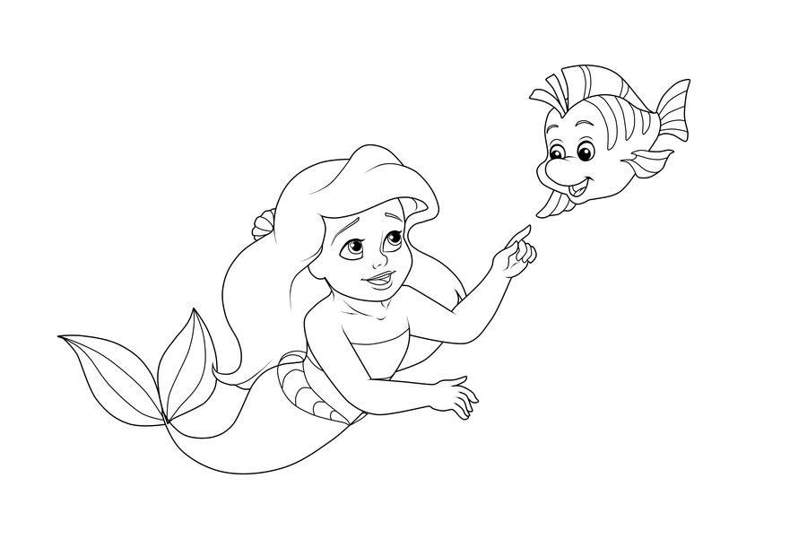 flounder coloring pages - Princess Ariel Coloring Pages