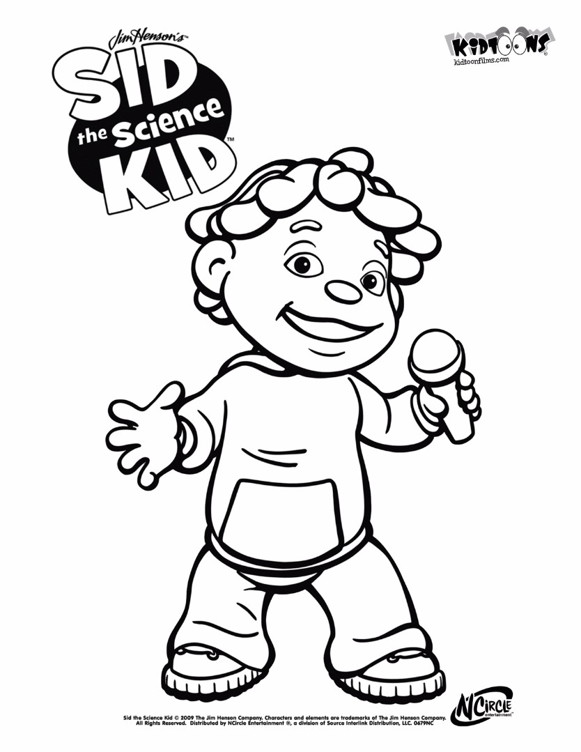 Sid the science kid coloring pages for Science coloring pages to print
