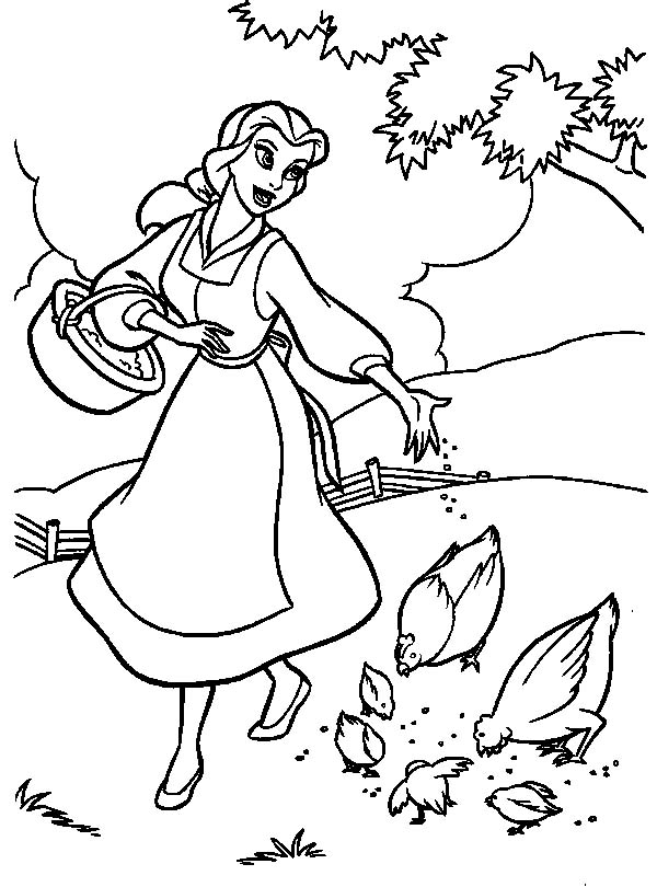 beauty and the beast coloring pages - Baby Princess Belle Coloring Pages