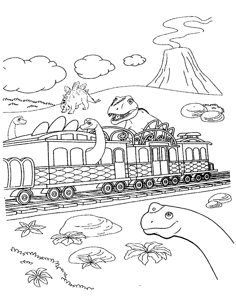 train coloring pages for kids dinosaur