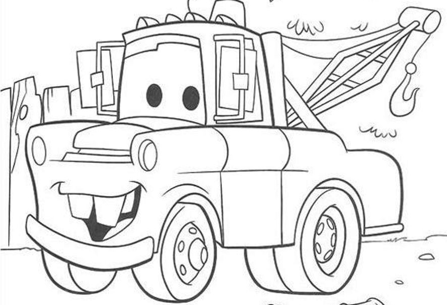 cars cartoon coloring pages - mater from cars coloring pages