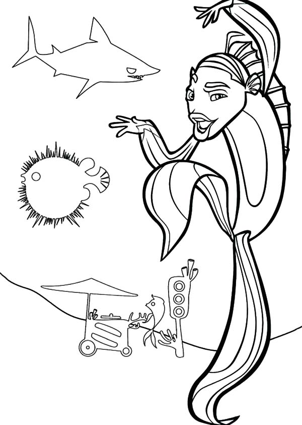 Shark tales coloring pages for Shark tale coloring pages