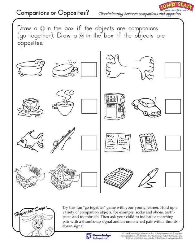 coloring pages – Kindergarten Opposites Worksheet