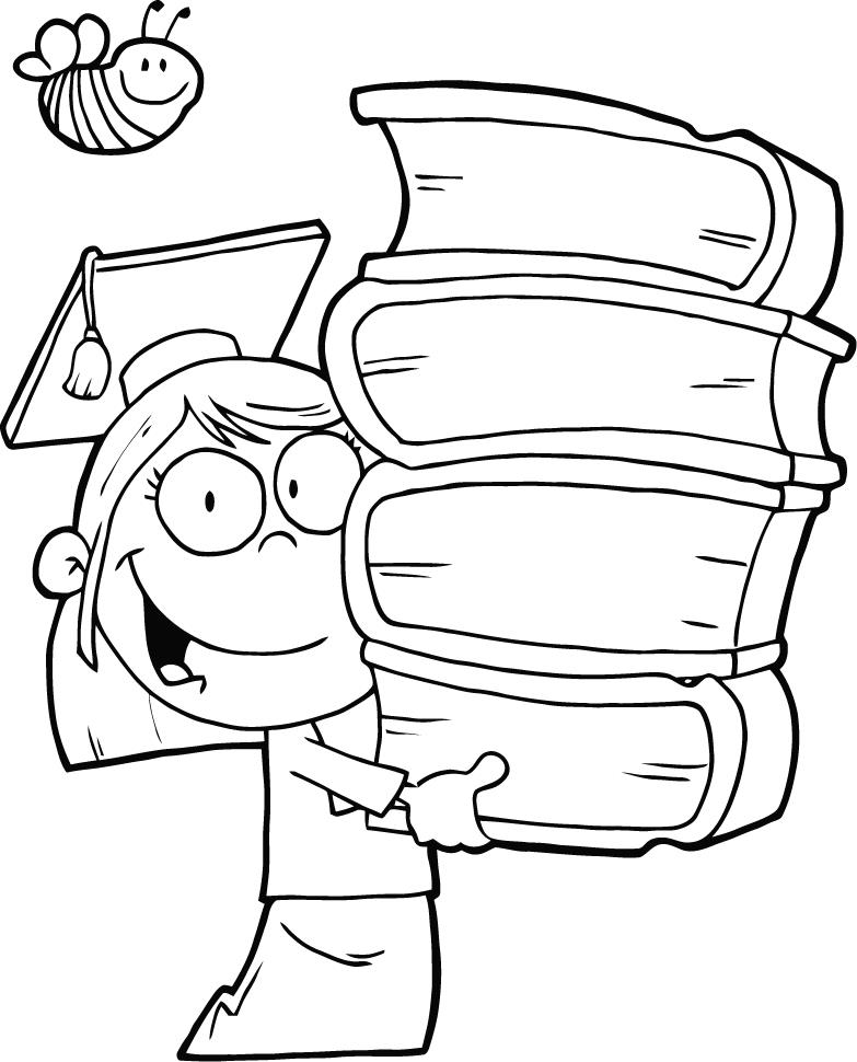 graduation coloring pages - Book Coloring Pages