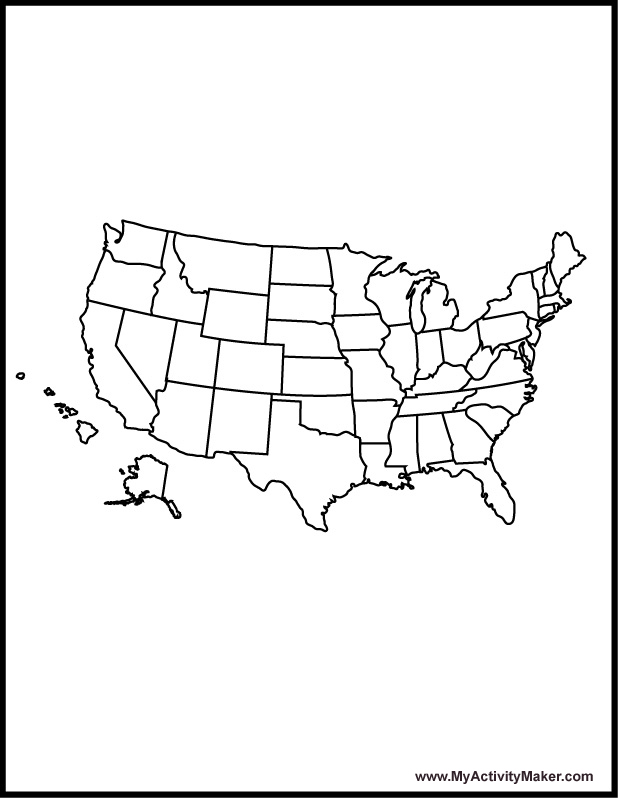 Usa state map coloring page