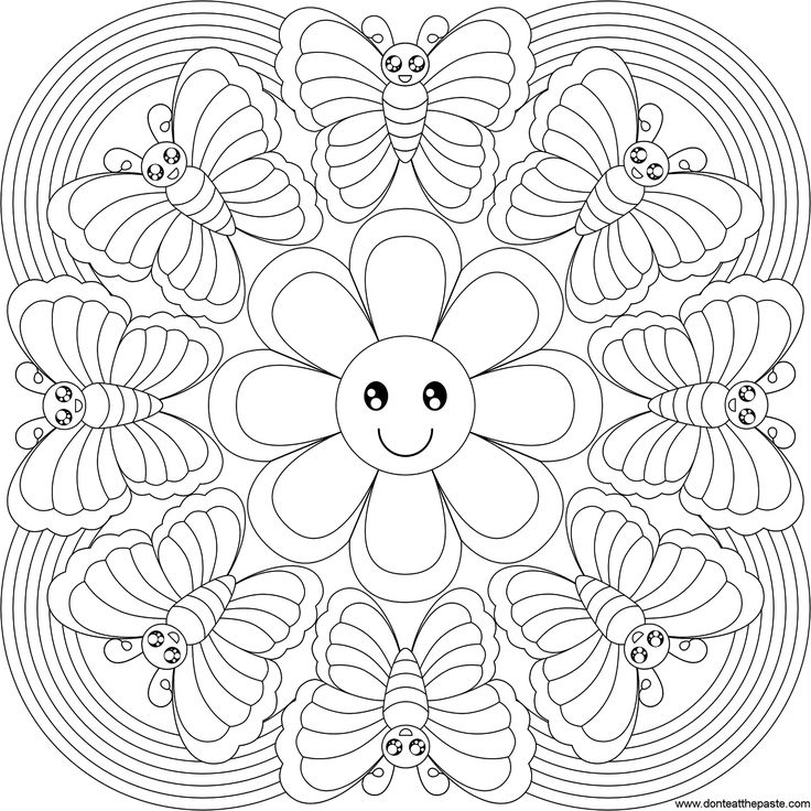 mandala coloring pages - Coloring Page Butterfly Flower