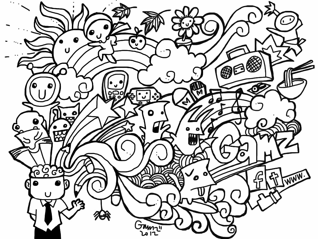 Doodle Art Printable Coloring Page Enjoy Coloring Doodles Coloring