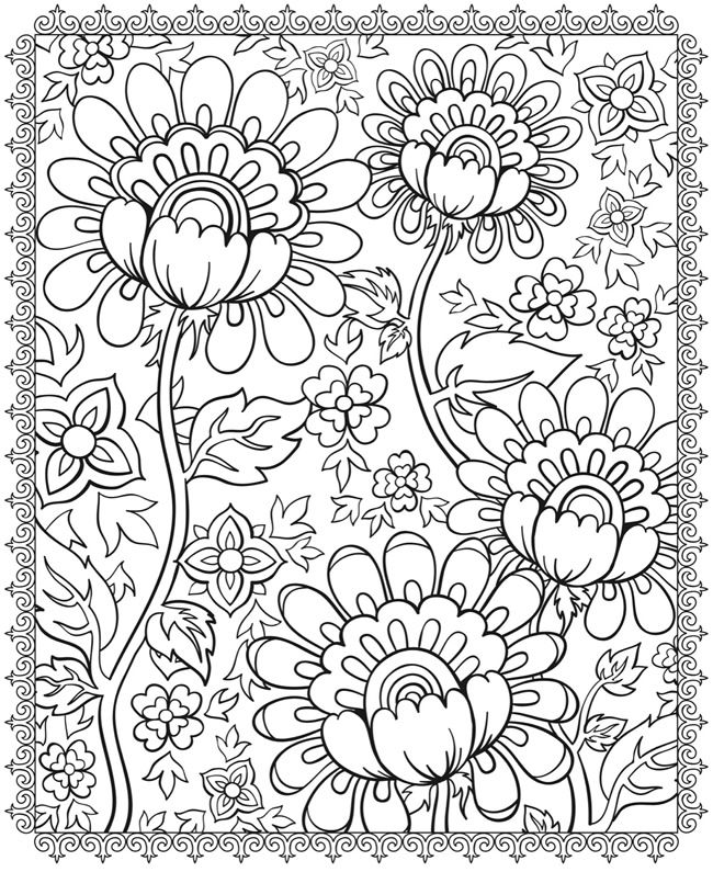floral coloring pages - Floral Coloring Pages
