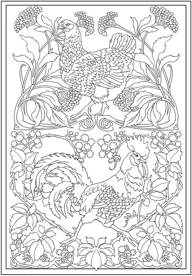 art nouveau coloring pages - Art Deco Coloring Pages