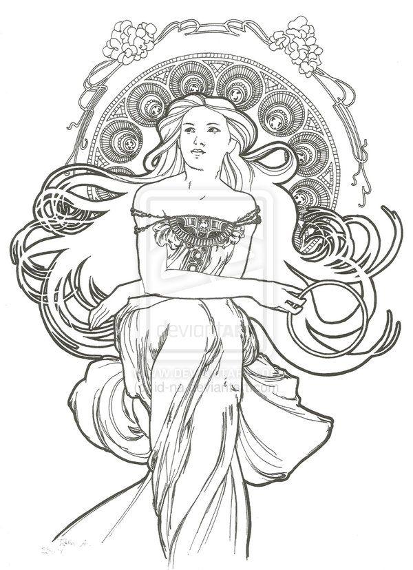 art nouveau coloring pages - Art Nouveau Unicorn Coloring Pages