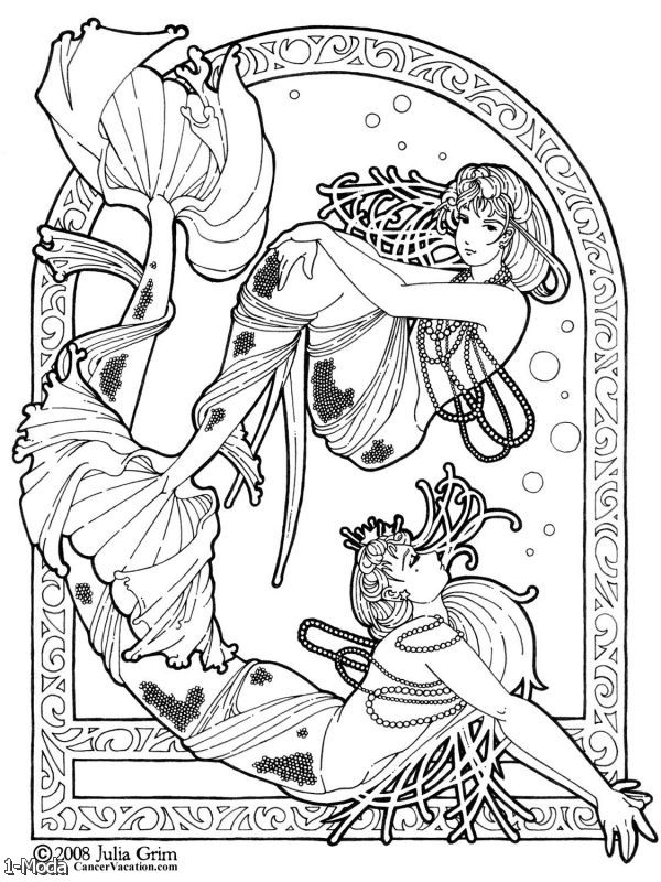 art nouveau coloring pages - Free Art Coloring Pages