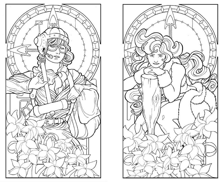 nouveau coloring pages