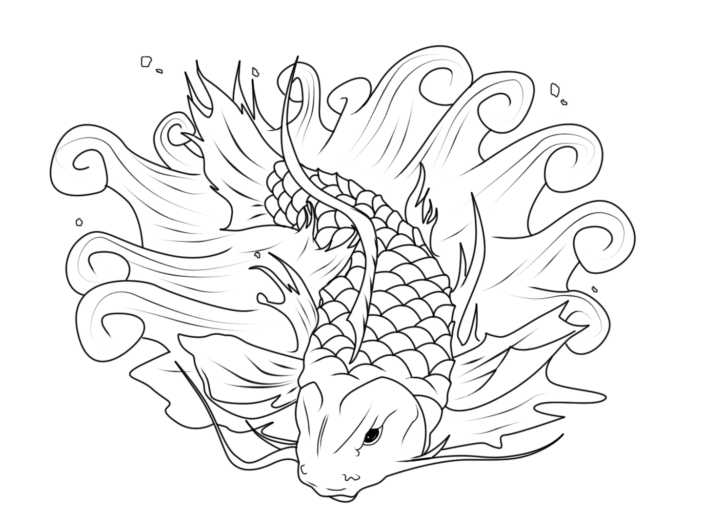 Koi fish coloring pages