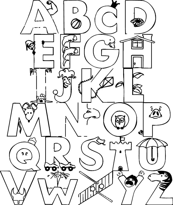 a z alphabet coloring pages - Letters Coloring Pages