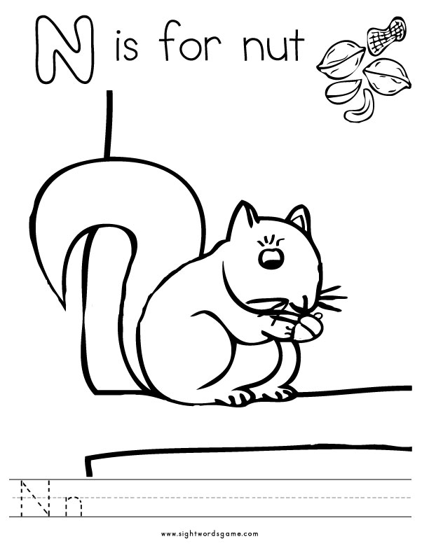 letter n coloring pages - N Coloring Page