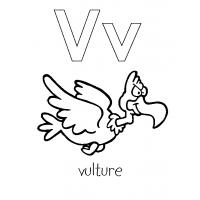 Letter V coloring pages