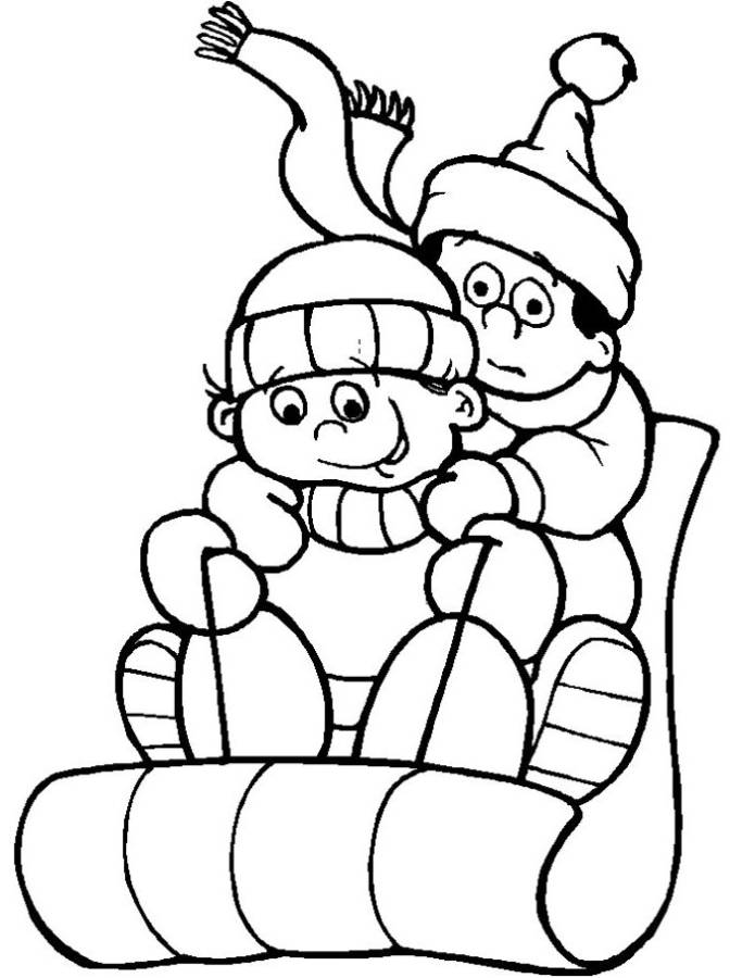 Attractive Winter Sledding Coloring Pages