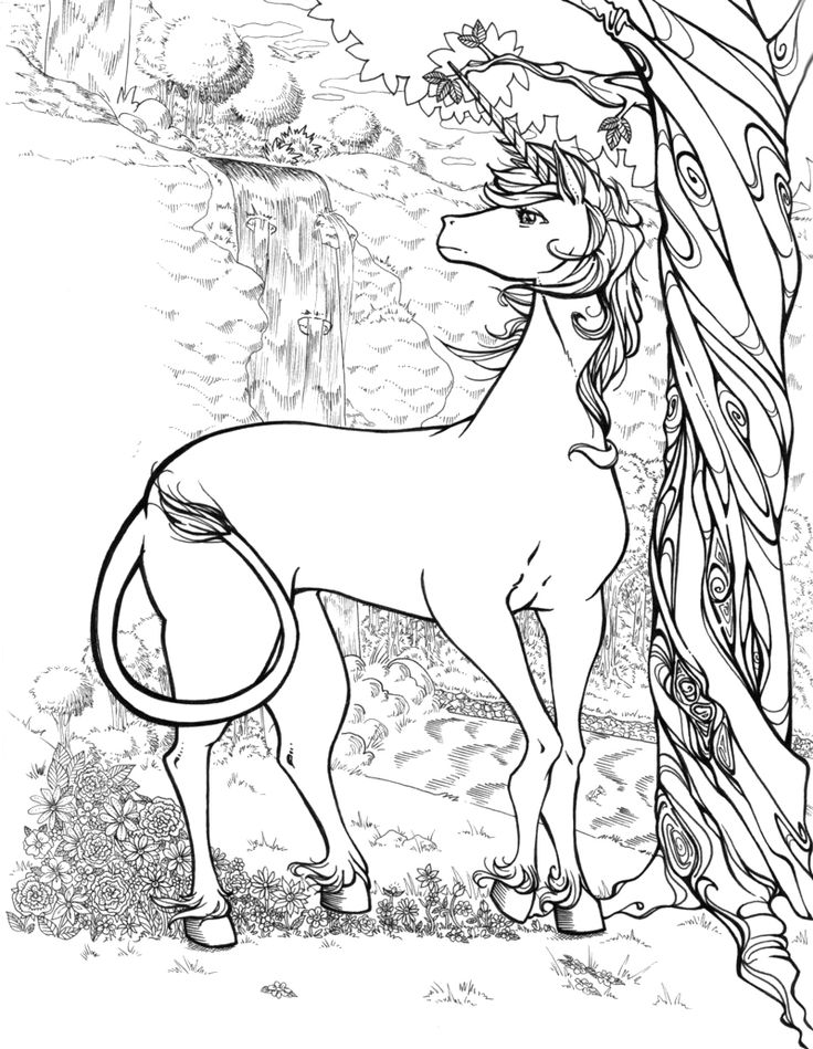 realistic unicorn coloring pages - Unicorns Coloring Pages