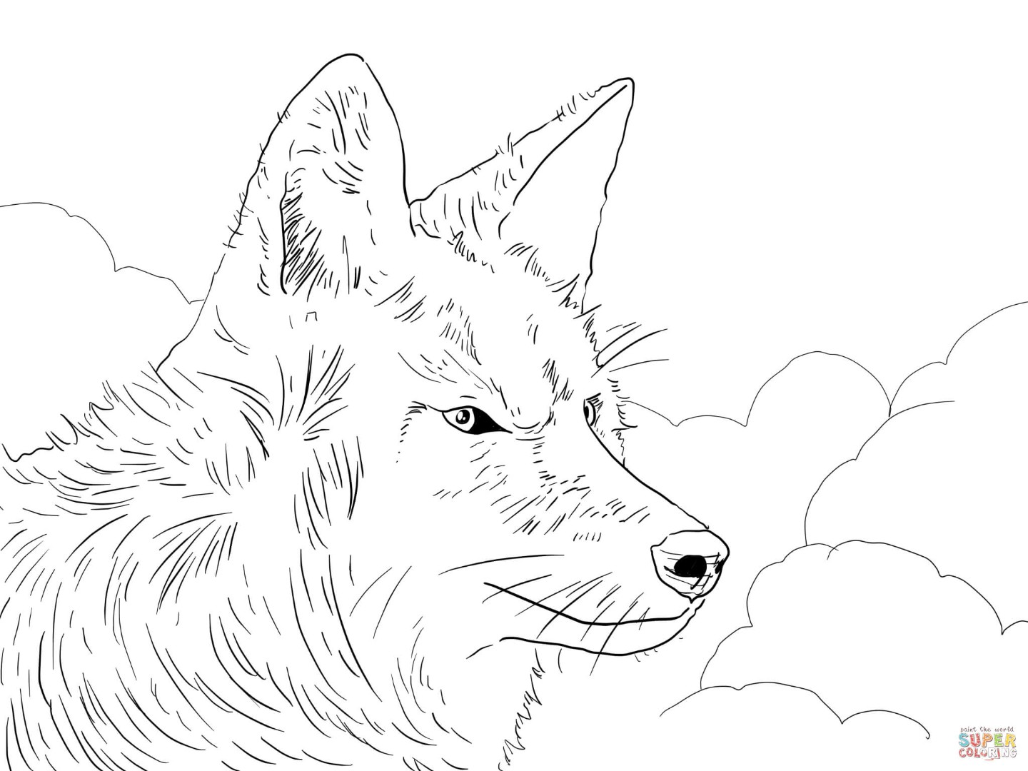 Wolf howling moon coloring pages