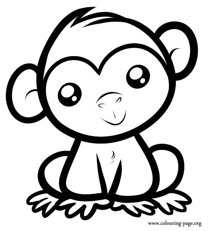 cute monkey coloring pages - Monkey Coloring Pages