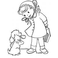Girl With Puppy coloring pages