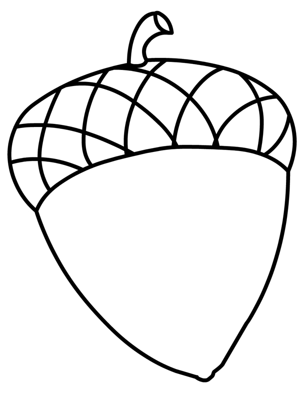 Acorn Clip Art Coloring - Worksheet & Coloring Pages
