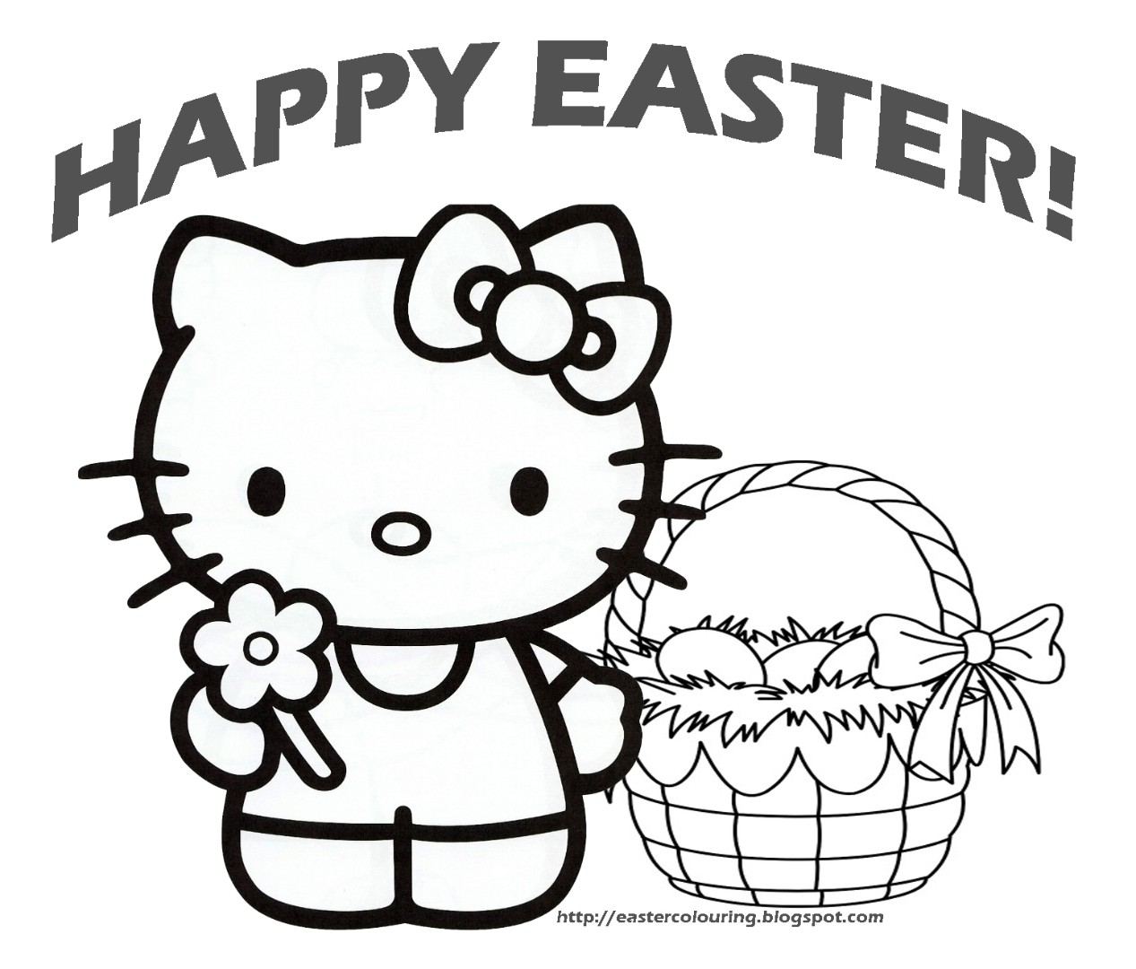 Hello kitty easter coloring pages