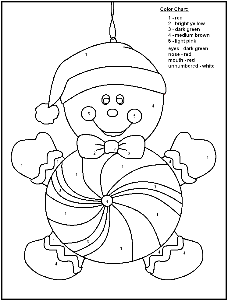 c free chrismas coloring pages | Christmas Color By Numbers to download and print for free