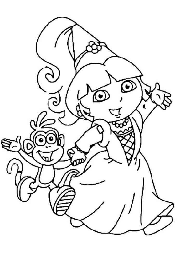 dora boots swiper coloring pages-#21