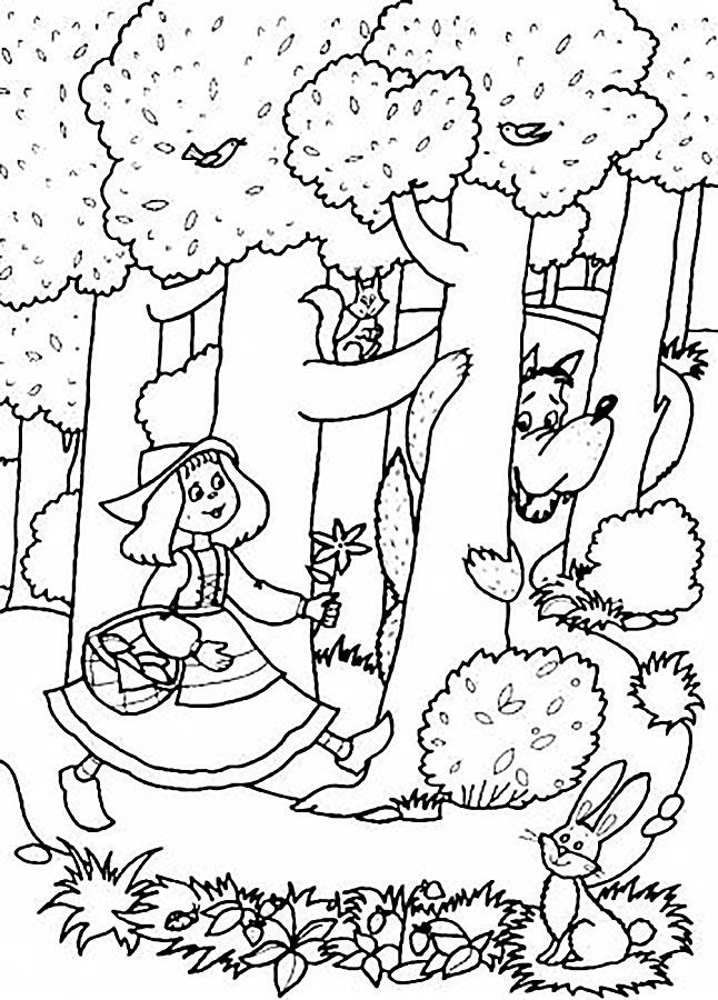 Little red riding hood coloring pages - Coloriage le petit chaperon rouge ...